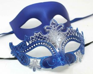 Blue and Silver Masquerade Couples Masks - His and Hers Masks | Masks and Tiaras